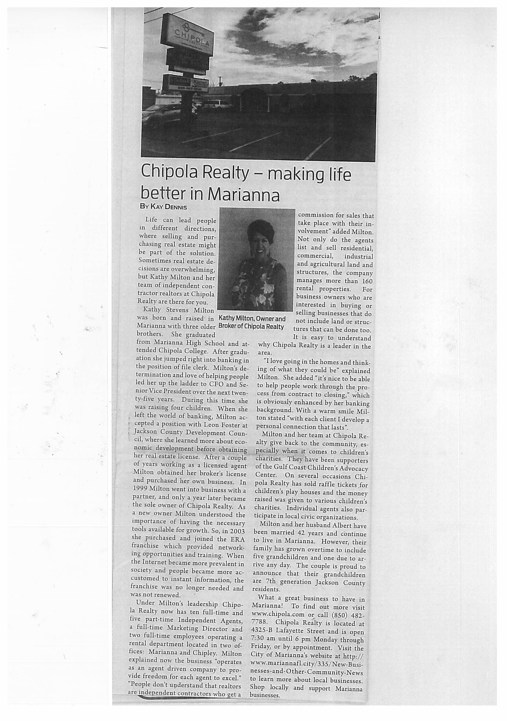 Chipola Realty JCT Article