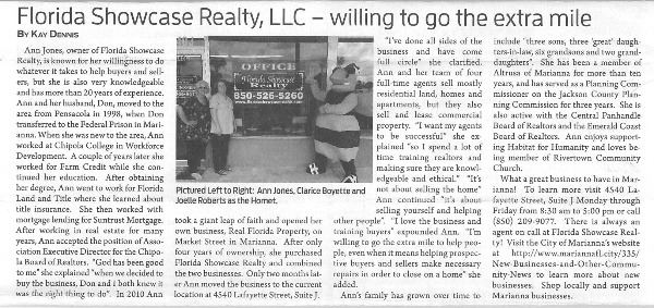 FL Showcase Realty JCT Article