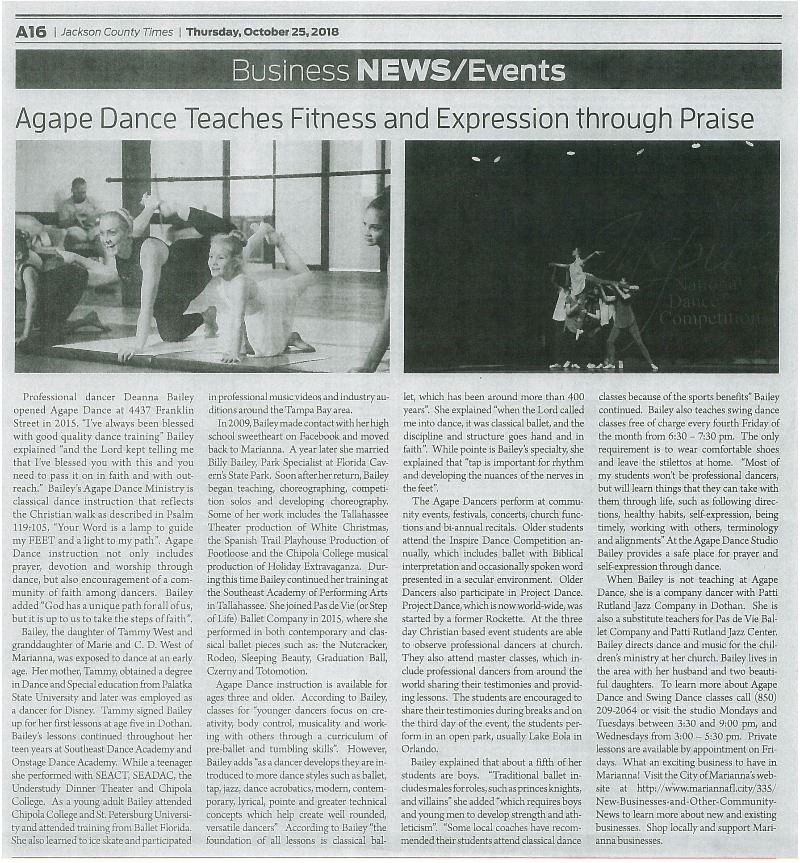 Agape Dance JCT Article001