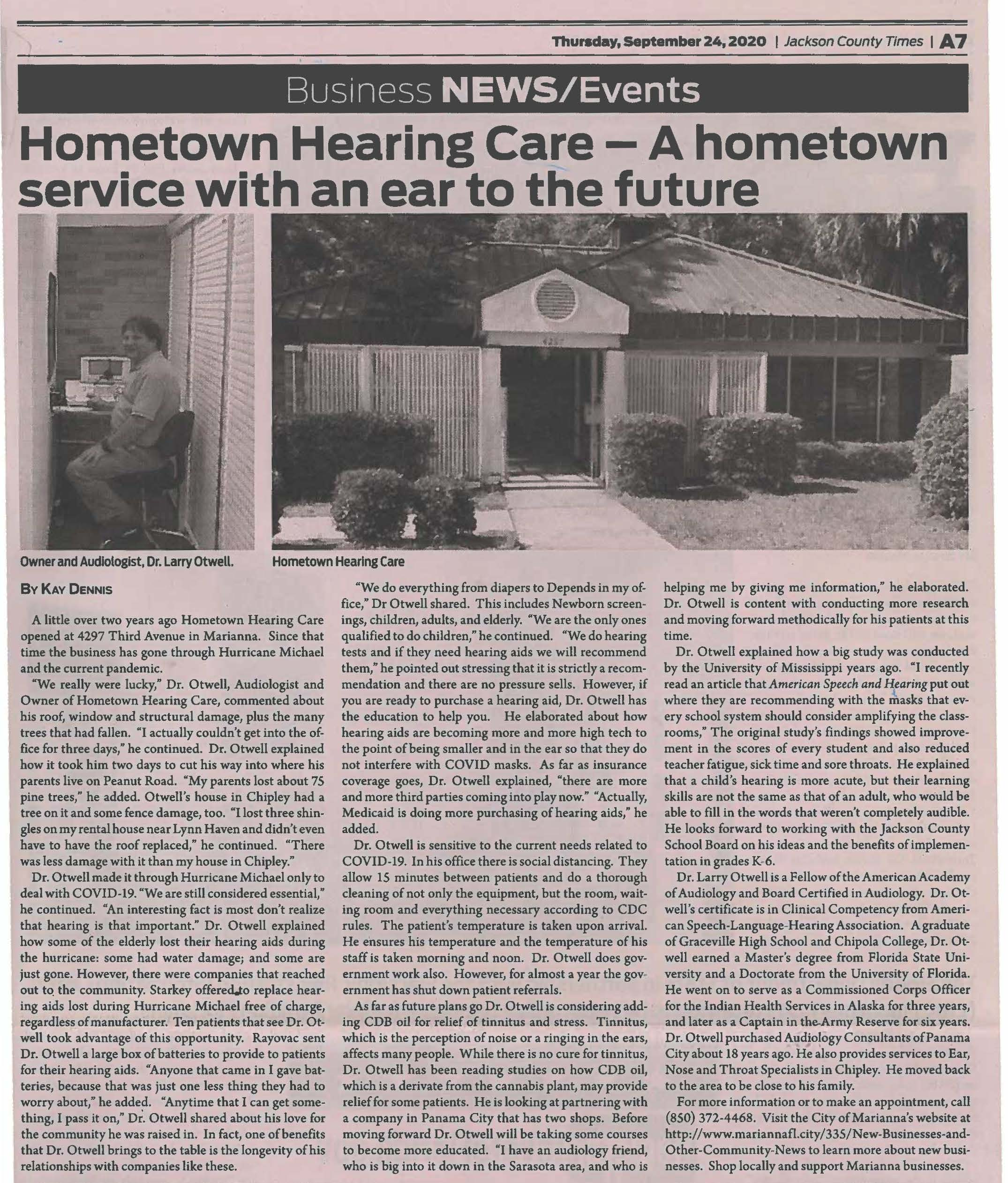 Hometown hearing times